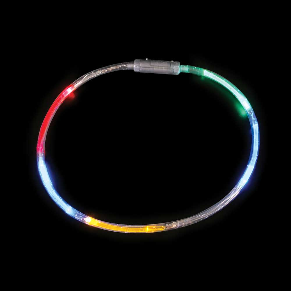 LED Flashing Clear Tube Necklace, Expandable, Multi-Color - Bulk lot of 12 necklaces