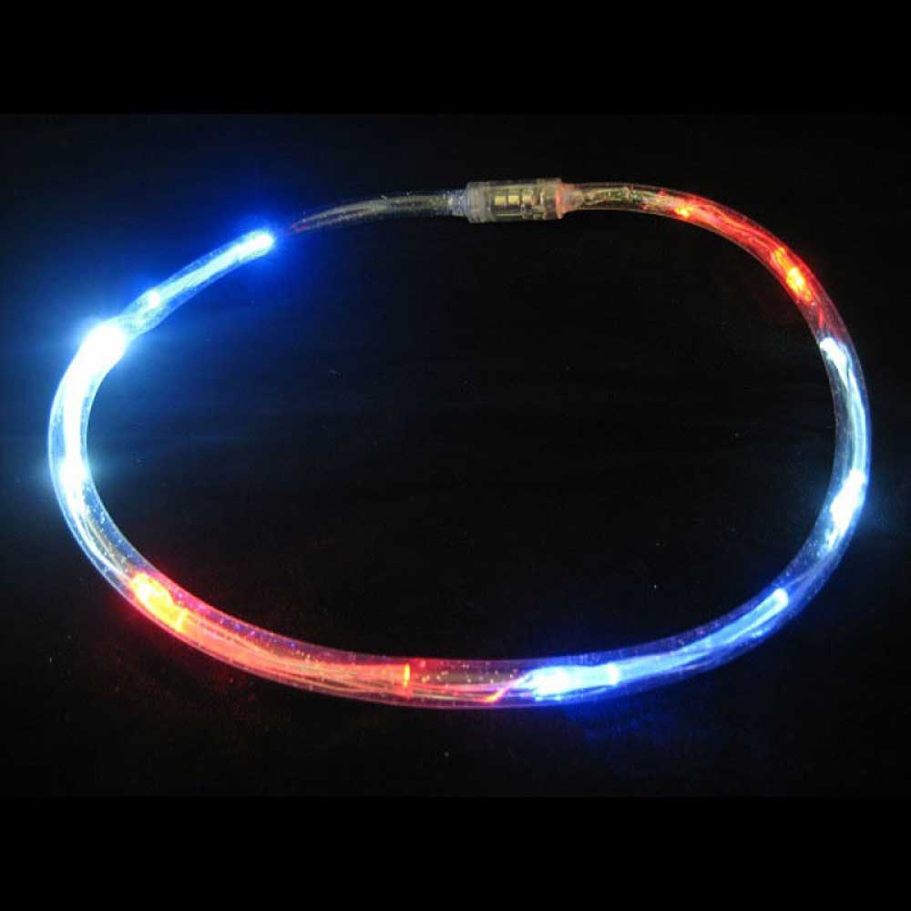 LED Flashing Clear Tube Necklace, Expandable, Red White & Blue USA 4th of July Colors