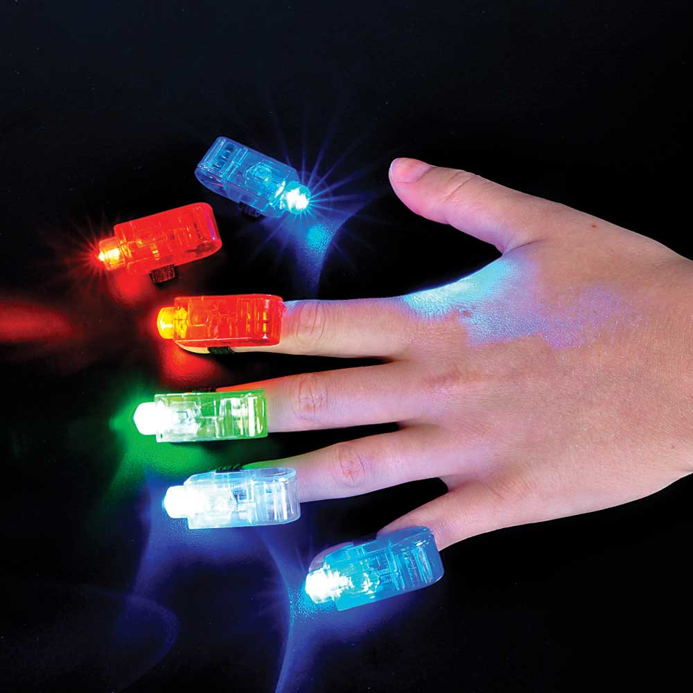 FingerBeams LED Finger Ring Flashlights, 1 card of 4 lights