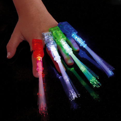 Fiber Optic FingerBeams Finger Ring Lights - 4 pack, assorted colors