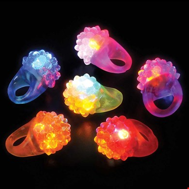 LED Light-UP Flashing Jelly Berry Ring, Multi-Color