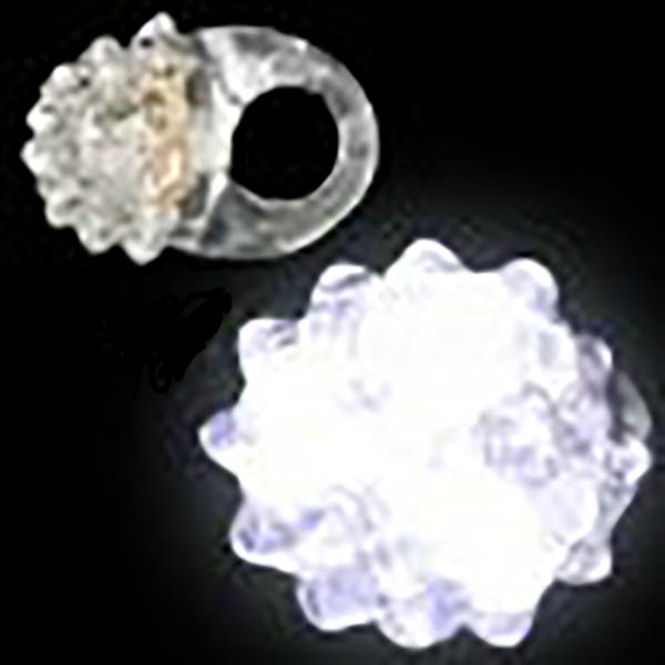 Jelly LED Light-UP Flashing Berry Ring, White, Lot of  48 Rings