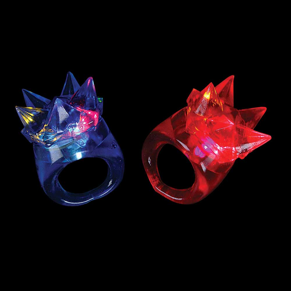 Jelly LED Light-UP Flashing Multi-Color Spike Ring, Lot of 144 Rings