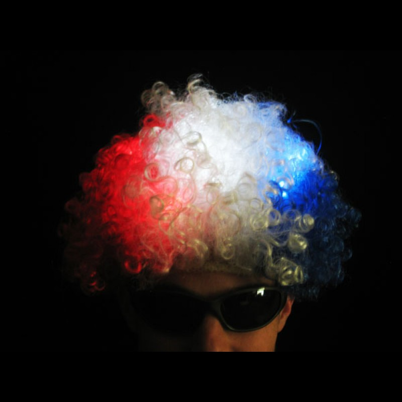 Flashing Red/White/Blue Afro Wig