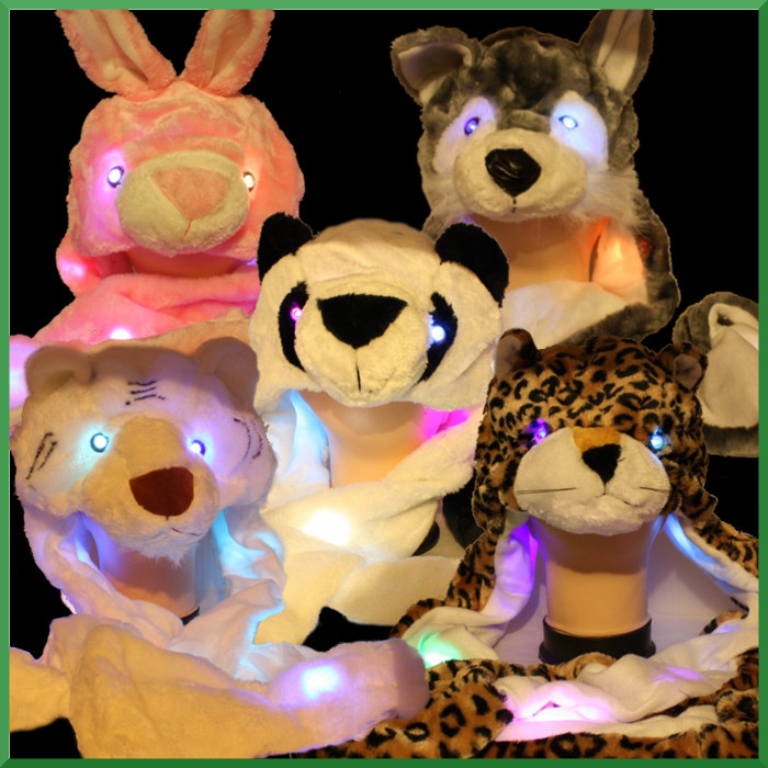LED Light Up Flashing Animal Hat with Long Scarf Paws and Mittens, Multiple Styles