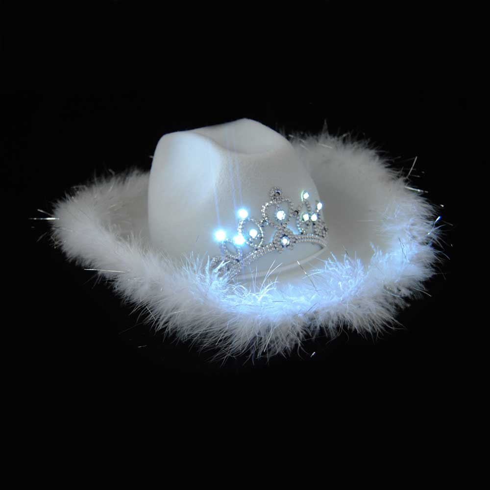 White Large Feathered Brim Cowgirl Hat with 13 LED Flashing Tiara