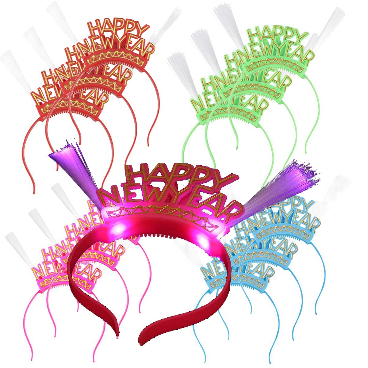"Party Pack of 12 ""Happy New Year"" LED Fiber Optic Flashing Headbands"