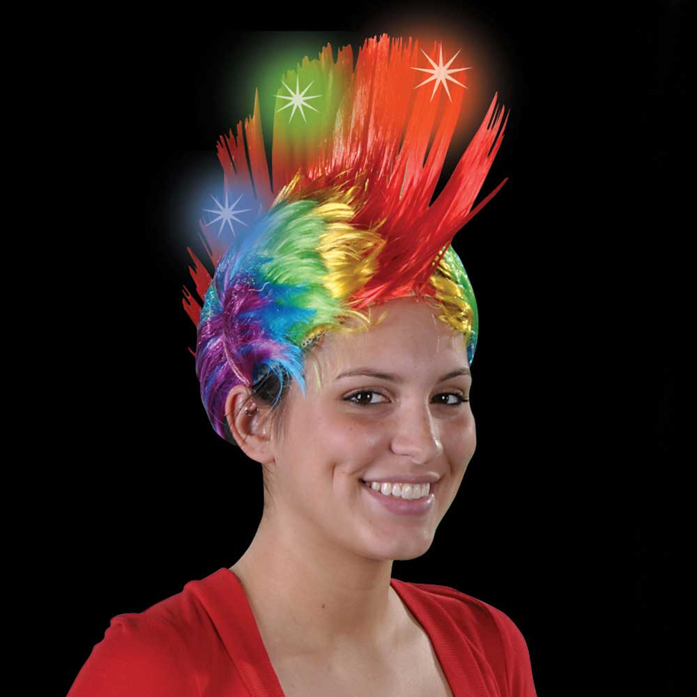 Light-up LED Rainbow Mohawk Wig
