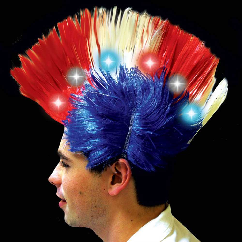 Light-up LED Mohawk Wig, Red White & Blue USA / 4th of July Colors