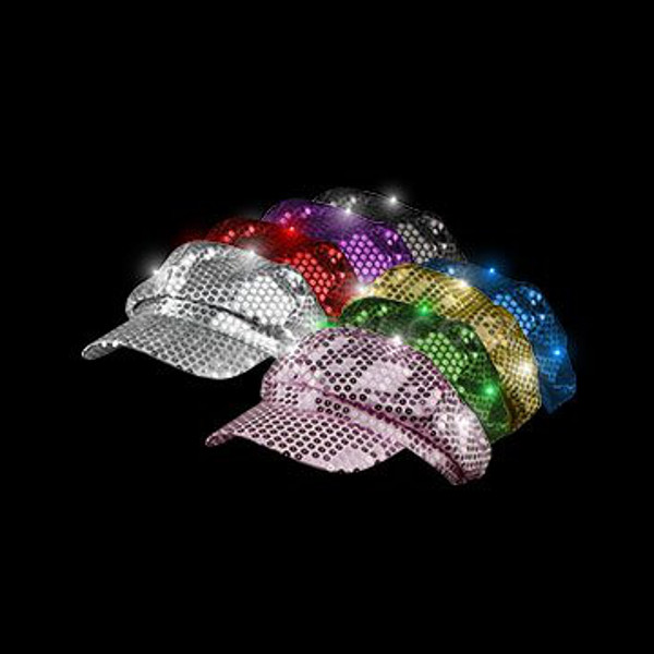 LED Sequin Newsboy Hat, Assorted Pink or Purple