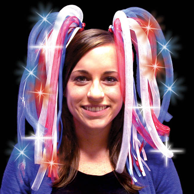 Tentacle Noodle Boppers/Dreads Flashing Headpiece, Red White & Blue USA / 4th of July Colors
