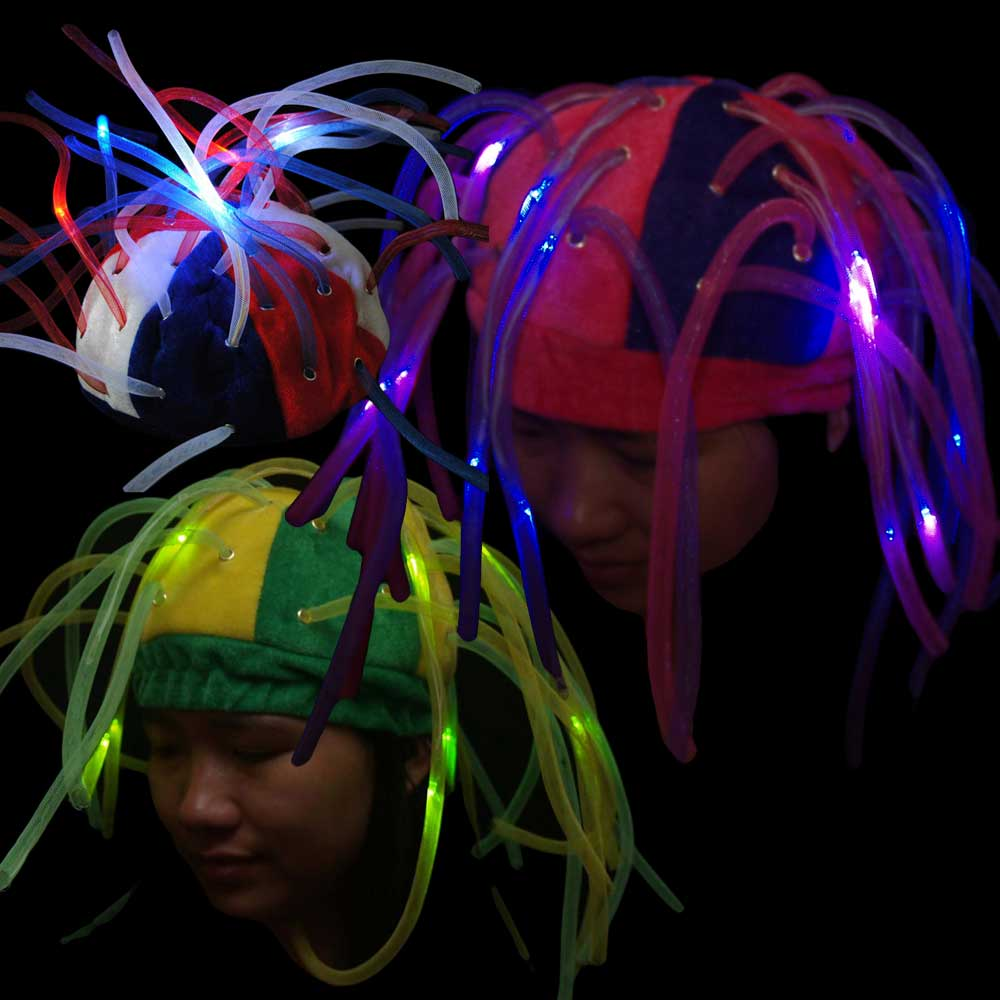 LED Flashing Tentacle Beanie Hat - 24 hat bulk lot, assorted colors