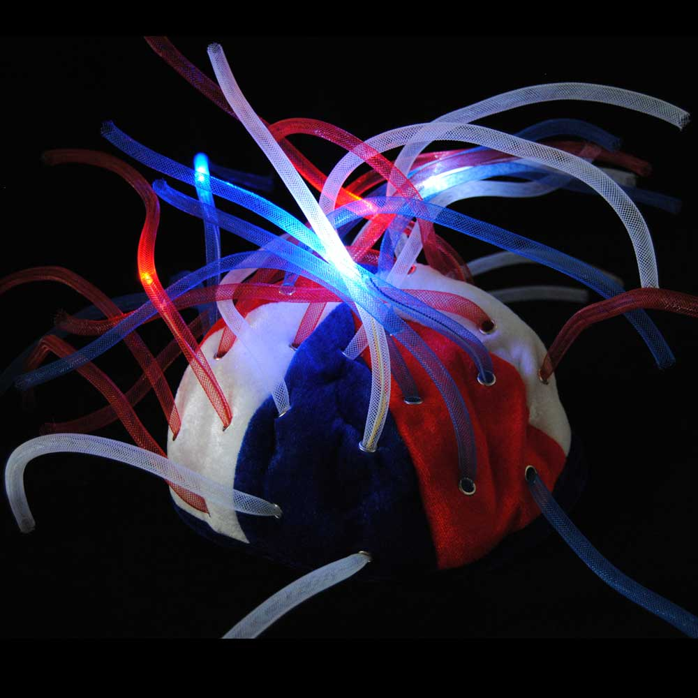 Flashing LED Tentacle Noodle Beanie Hat, Red White & Blue USA 4th of July Colors