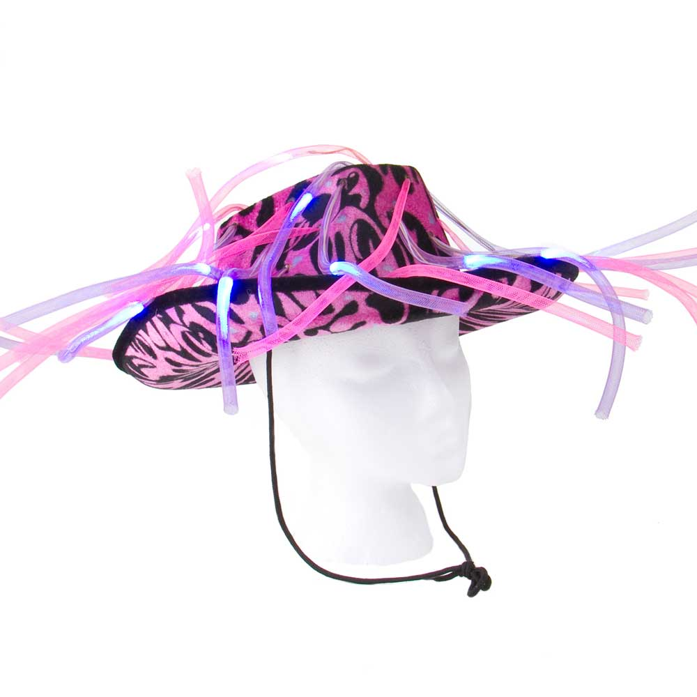 Flashing LED Tentacle Noodle Cowboy Hat - 24 hat bulk lot