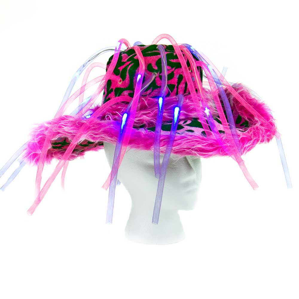 Flashing LED Tentacle Noodle Pimp Hat - 48 hats (1 case), assorted colros