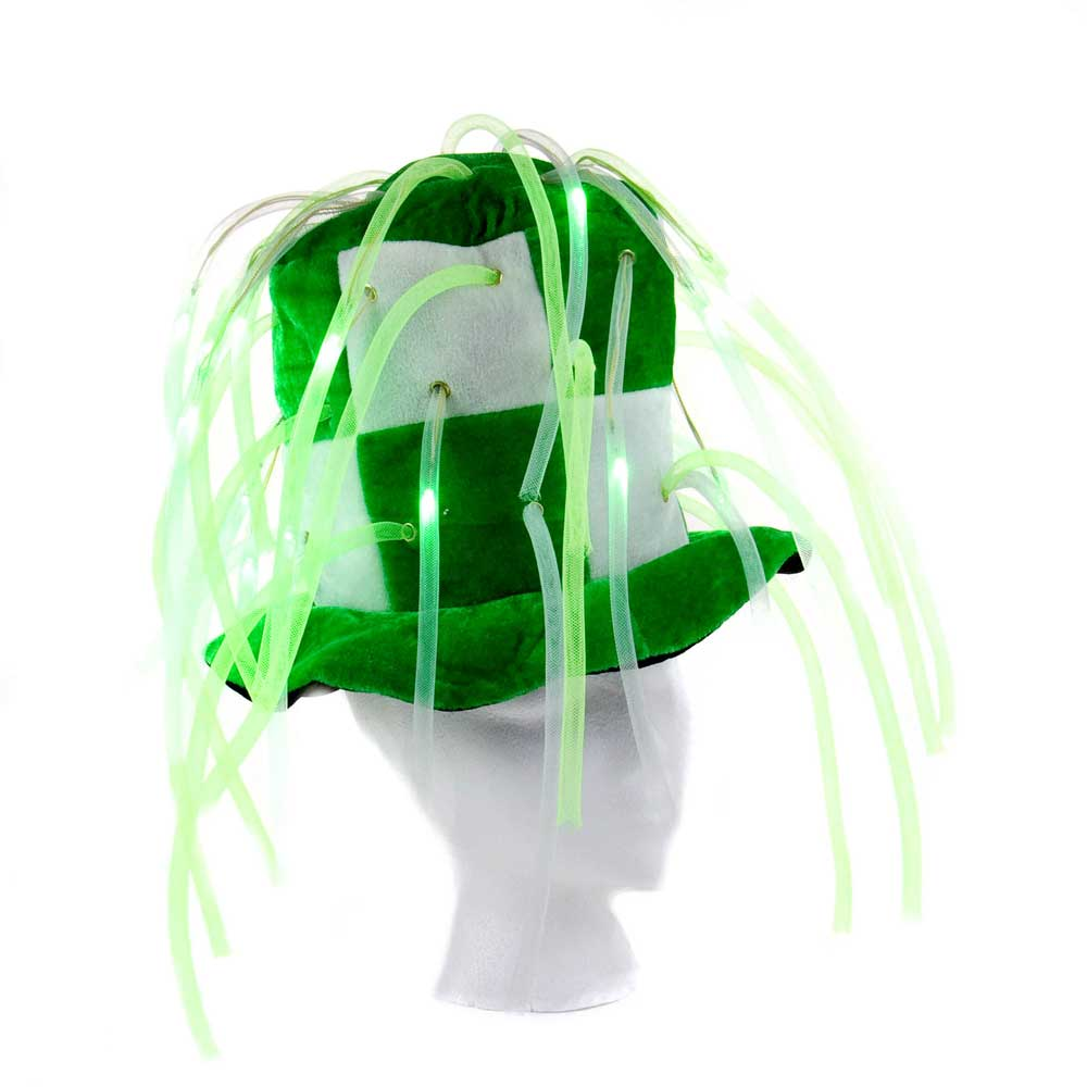 Flashing LED Tentacle Noodle Top Hat - 24 hat bulk lot, assorted colors