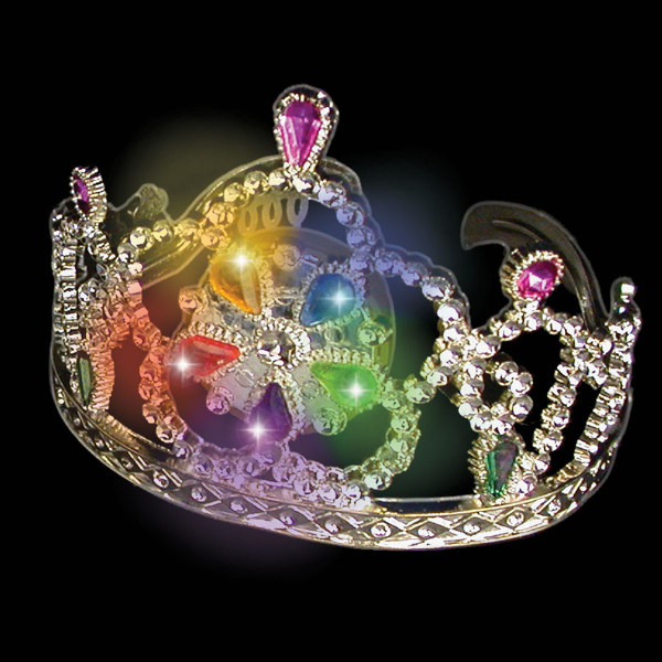 Flashing LED Gem Stone Silver Tiara