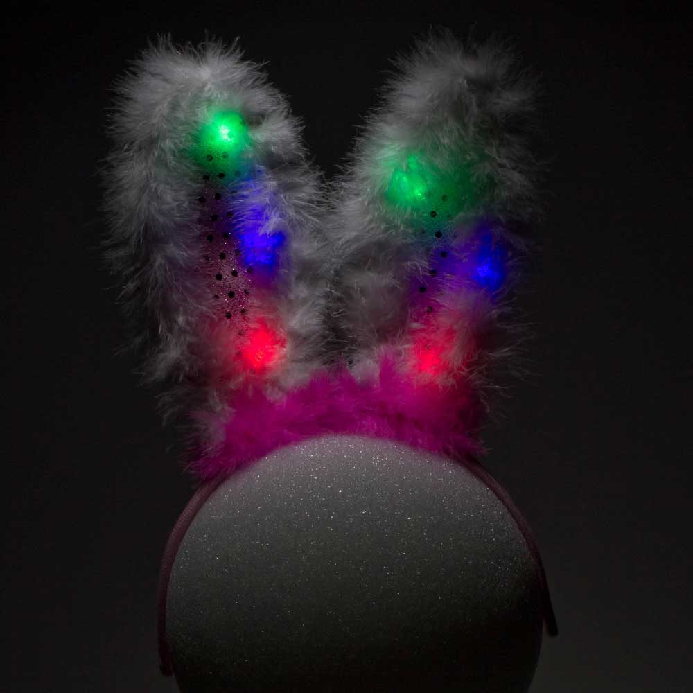 Furry Flashing Feather LED Bunny Ears, Pink, 24 unit bulk wholesale lot