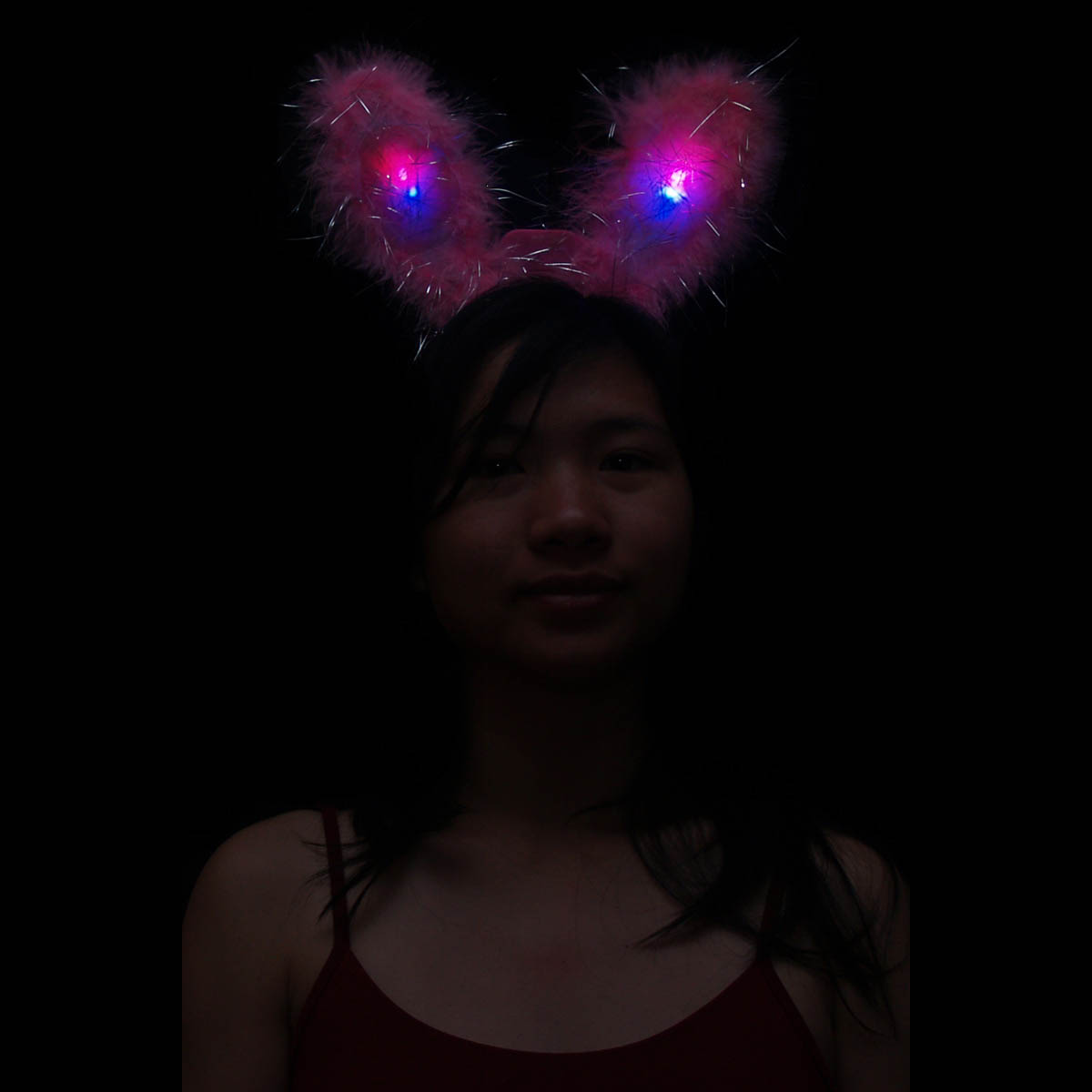 Furry Flashing Feather LED Bunny Ears, Various Colors
