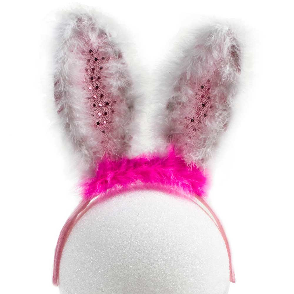 Furry Flashing Feather LED Bunny Ears, Pink, 72 unit bulk wholesale lot (1 case)