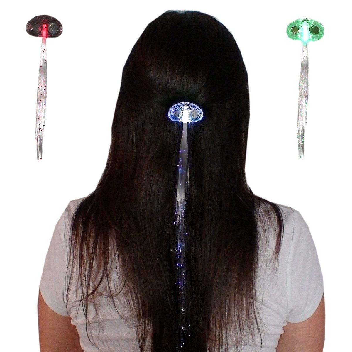 LED Fiber Optic Light-Up Oval Clear Hair Barrette, Multicolor - Better Than Glowbys!
