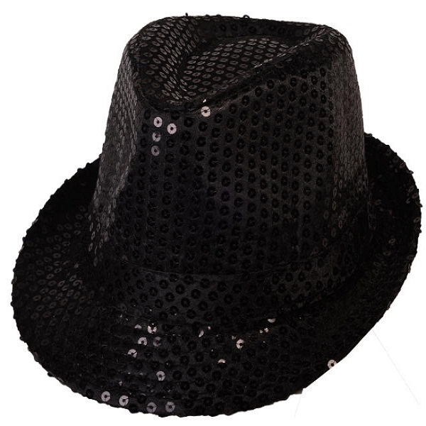 Flashing LED Light-Up Sequin Fedora Party Hat