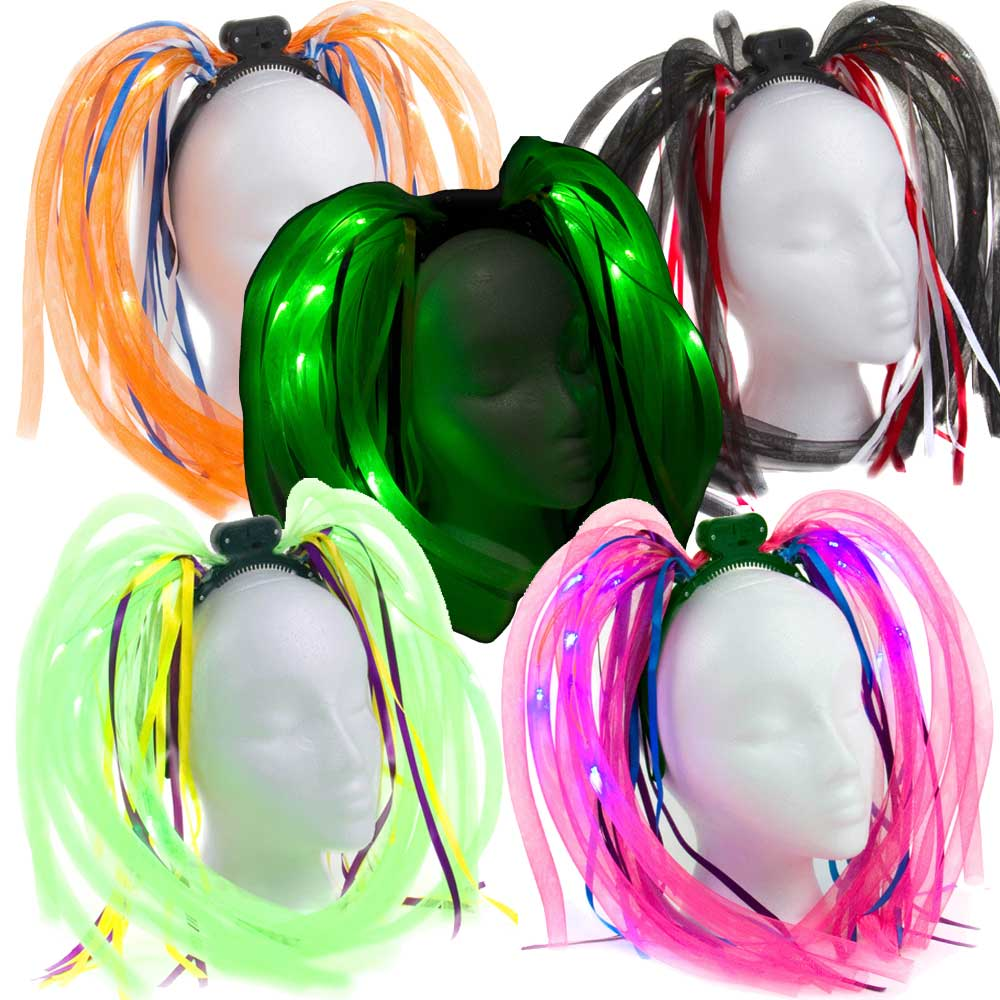 Tentacle Noodle Boppers/Dreads Flashing Headpiece, mixed colors, 72 unit case pack
