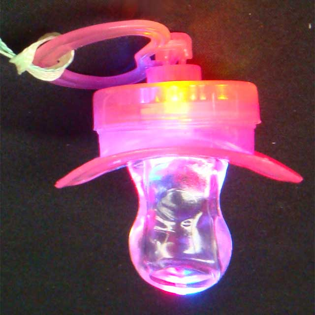 LED Flashing Pacifier Binkie Raver Pendant Necklace, wholesale lot of 24 units