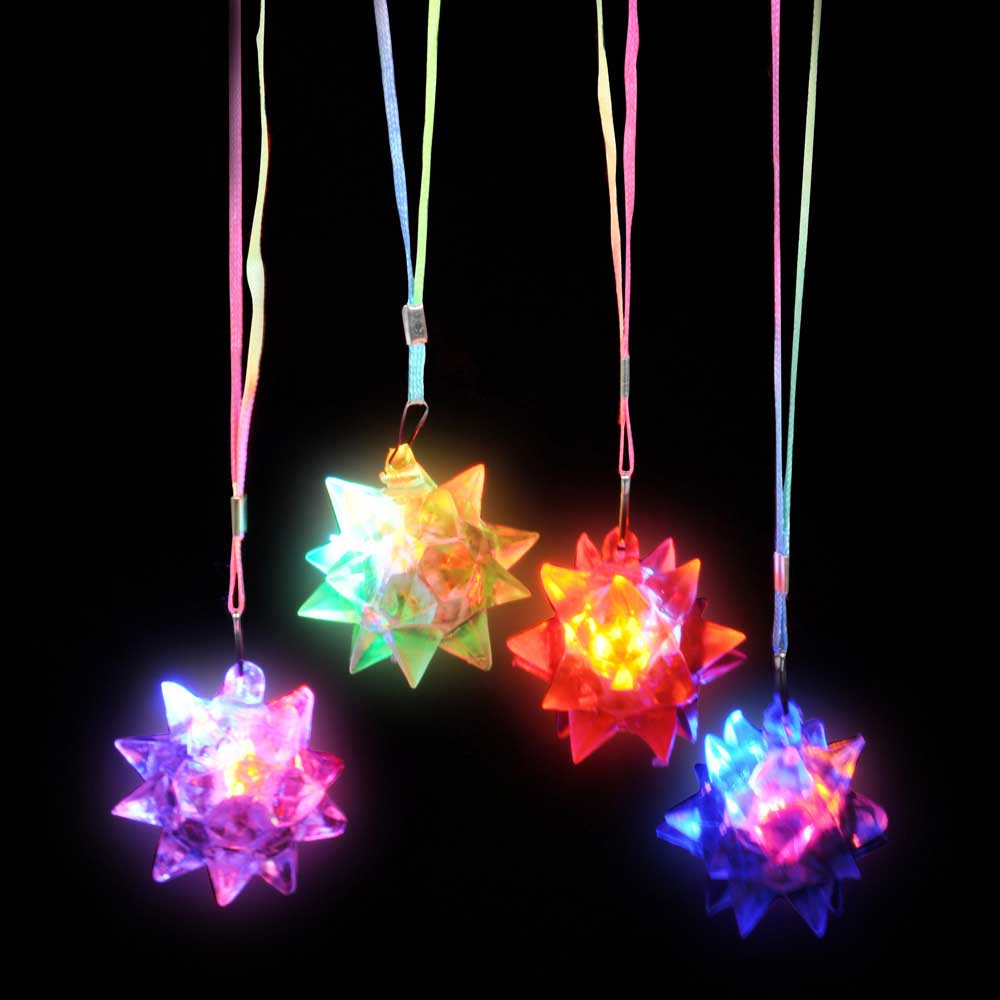 Light-Up Flashing Star Spike LED Ball Pendant Necklace