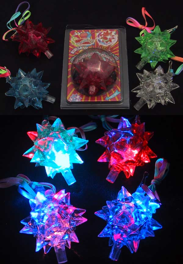 Light-Up Flashing Star LED Ball Pendant Necklace - Display box of 12 units