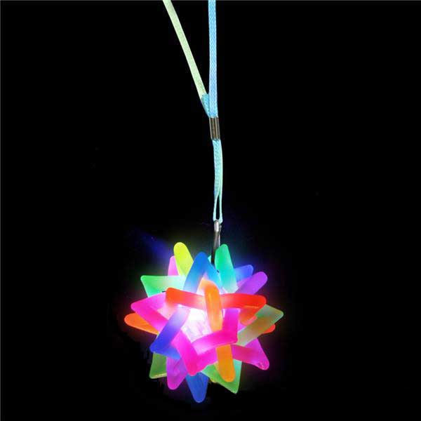 Twisted Star Ball Light-Up Flashing LED Necklace