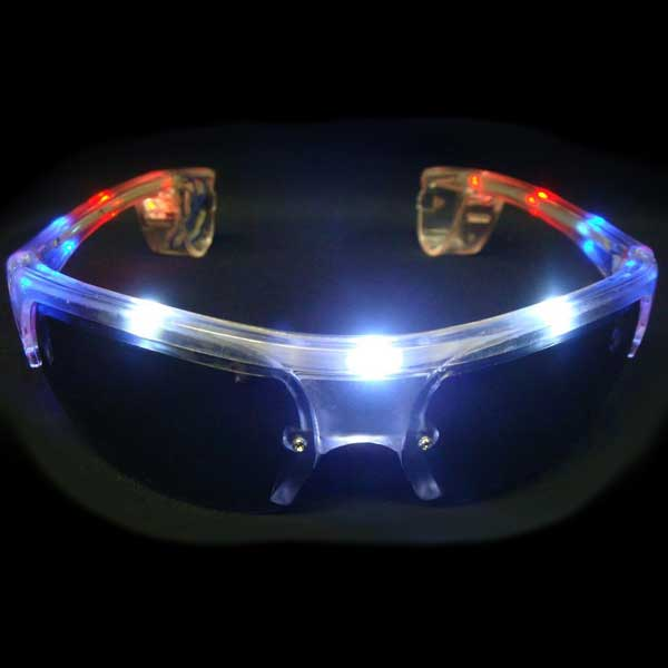 LED Flashing Sunglasses, Aviator - Half Frame, Red Whine & Blue USA 4th of July Colors
