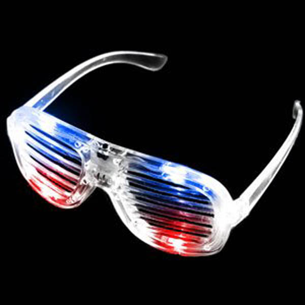 LED Flashing Sunglasses, Shutter - Lensless, Red White & Blue USA 4th of July Colors