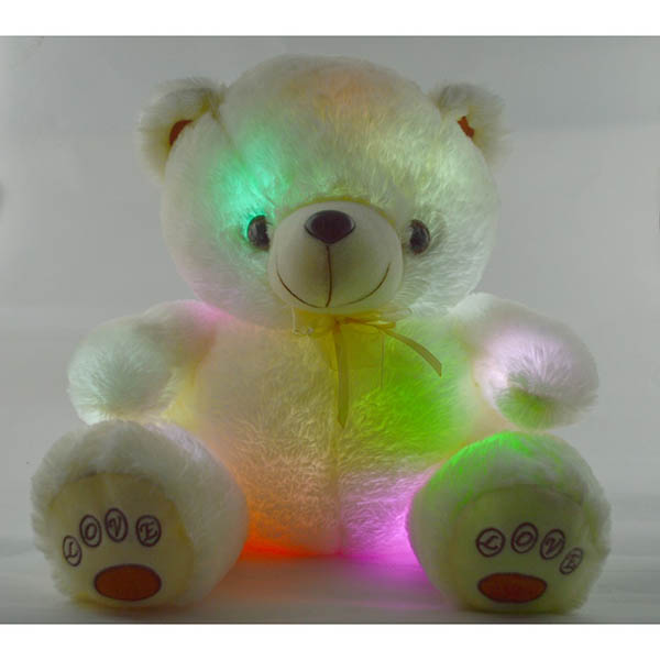 Flashing White Plush Teddy Bear with Multi-Color LED Lights